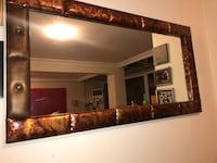 Mirror with leather frame