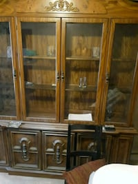 brown wooden framed glass display cabinet Baltimore, 21218
