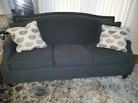 blue grey couch w toss pillows Arlington