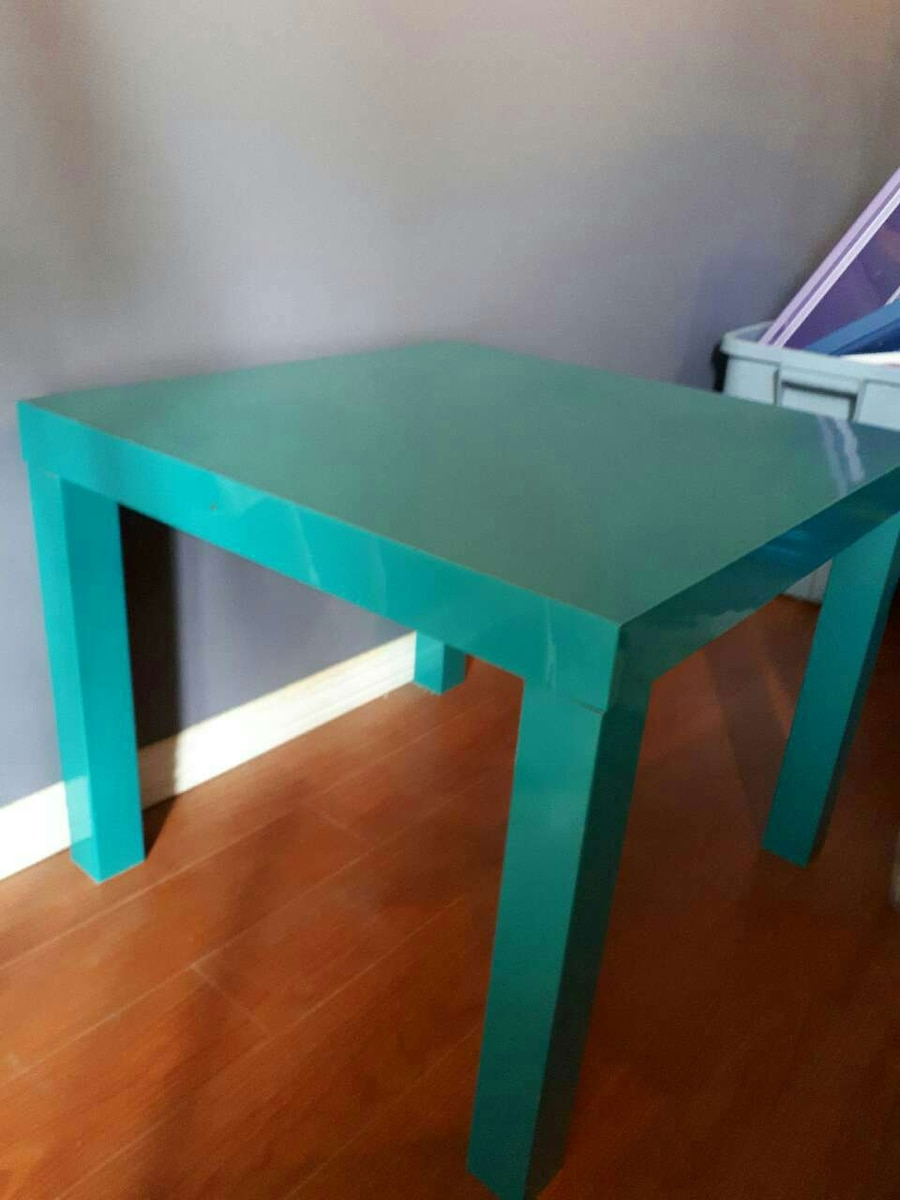 teal wooden table