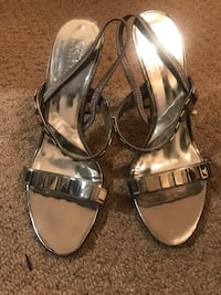 pair of gray open-toe ankle strap heels Mississauga, L5R 3Z8