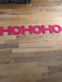 """HOHOHO Christmas holiday wooden red sign - 12"""" x 12"""" each piece Hobe Sound, 33455"""