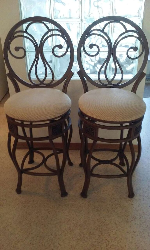 Cool Pair Wrought Iron Swivel Chairs Bralicious Painted Fabric Chair Ideas Braliciousco