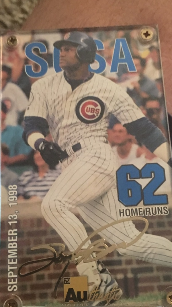 Sammy Sosa In His 1998 Run With Mark Mcgwire The Signature Is In 24 Carrot Gold