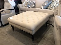 Cream Tufted Ottoman w/ Nailheads on Casters Los Angeles