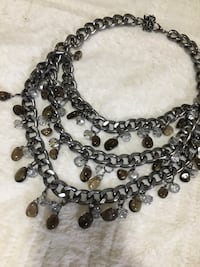 Chain and beaded rhinestone necklace