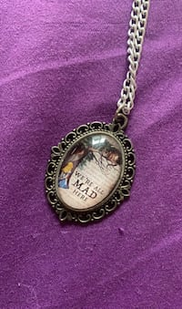 Handmade We're All Mad Here, Alice in Wonderland Necklace
