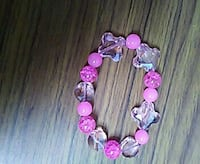 pink and clear beaded bracelet