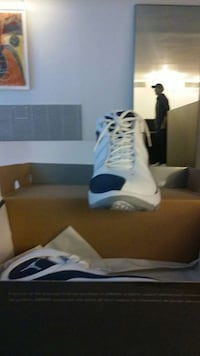 white and blue air jordan basketball shoes New York, 10014