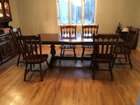 Solid Pine 9' long dining table chairs and hutch