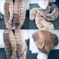 Handmade crochet infinity scarf and beanie set very light and fluffy shades of cream and beige  Las Vegas, 89129