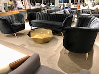 3pc black velvet sofa loveseat and chair with gold legs  North Bethesda, 20852