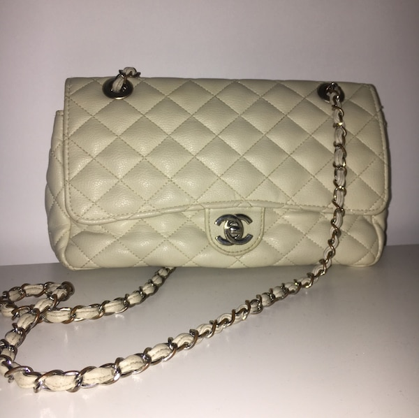 dcd7507ee379 Used quilted white Chanel leather crossbody bag for sale in St. Helens -  letgo