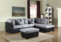 Brand New Grey Microfiber Sectional Sofa + Ottoman Silver Spring, 20902