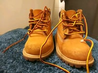 pair of brown leather timberlands boots