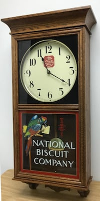NABISCO WOOD WALL CLOCK PARROT LOGO NATIONAL BISCUIT CO
