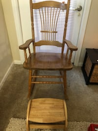Wooden Rocking Chair with Foot Rest