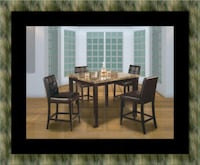 Marble tall table with 4 leather chairs Alexandria