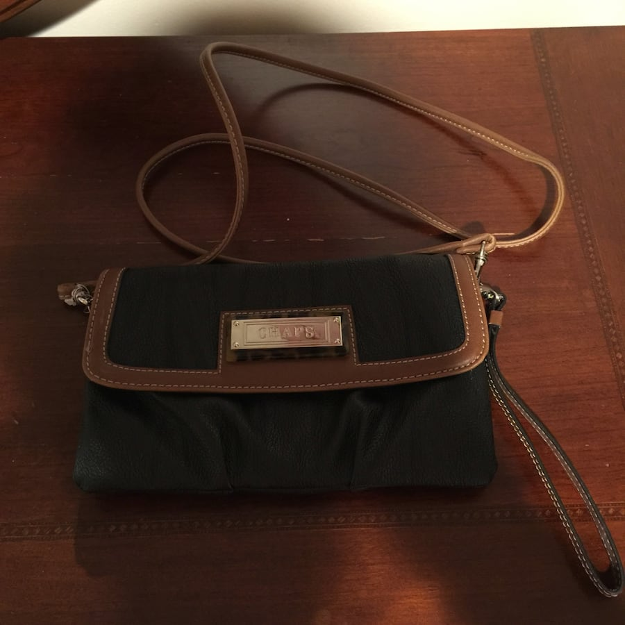 Women's black and brown leather chape sling bag