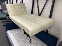 Vanilla Faux Leather Lounge Chaise Futon, Chrome Legs $119 TM*