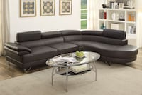 2 Piece Faux Leather Sectional Rounded Chaise In EspressoFREE DELIVERY
