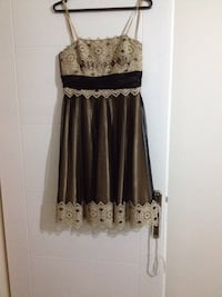 women's black and brown silk laced spaghetti strap dress