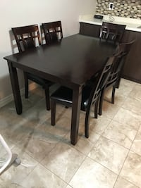 rectangular brown wooden table with four chairs dining set Ajax, L1T 4W8