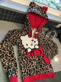 Hello Kitty zipup hoodie with cat ears on hood, women's x-large