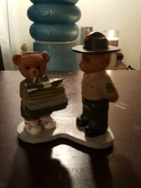two brown and white Bear ceramic figurines
