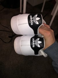 Pair of white adidas low-top sneakers White Rock, V4B 2X5