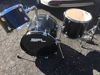black and silver spl drumset