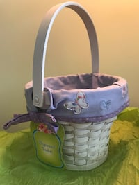 Butterflies and purple Cloth lined white basket