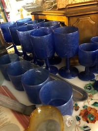 Blue and black ceramic vases