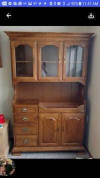 GORGEOUS VINTAGE CHINA HUTCH with copper sink.