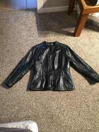 Women's Motorcycle Black leather zip-up jacket, size S Ladner, V4K 3R2