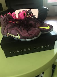 Maroon-and-green Nike Lebron James basketball shoes on box