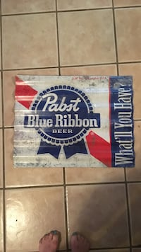 Corrugated rare tin beer sign Austin, 78705