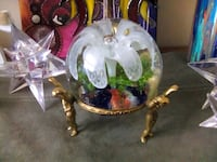 Hand blown Glass Art (flower in) and brass Angel s Welland, L3C