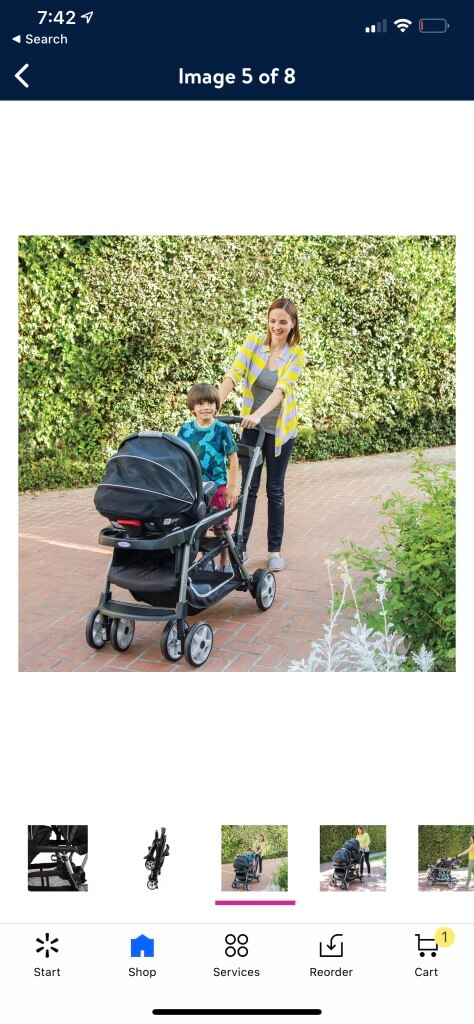 Photo Double baby stroller sit and stand