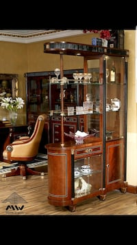 brown wooden framed glass display cabinet Toronto, M9W