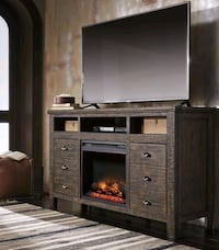 Trudell Dark Brown XL TV Stand with Fireplace Inse Houston