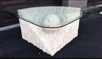Designer, modern sculpture coffee table - top quality heavy marble like composite with a glass top Chandler, 85248