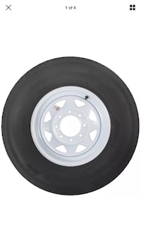"Radial Trailer Tire On White Rim ST235/80R16 Load E (8 Lug On 6.5"") Spoke Wheel San Bernardino, 92408"