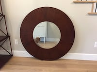 """Wood framed beveled mirror by Majestic Mirror and Frame 44"""" dia"""