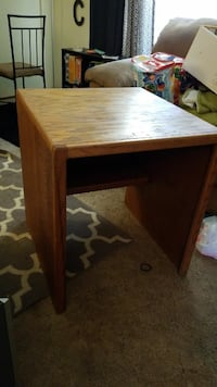 square brown wooden side table
