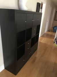 Ikea KALLAX Shelf, Black with drawers and doors