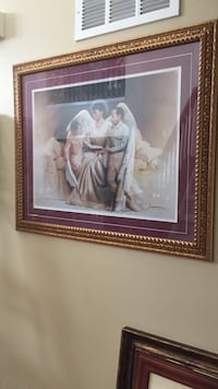Female angel with two children painting with brown frame Lawrence, 46216