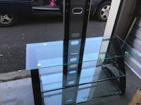 Glass entertainment center, missing mounting brackets is well loved but isn't safe for my little ones Gresham, 97030