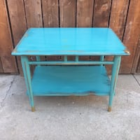 teal wooden 2-layered side table