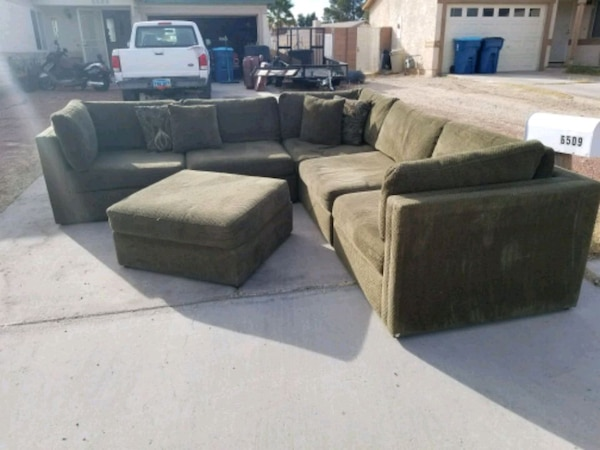 gray suede sectional sofa with ottoman